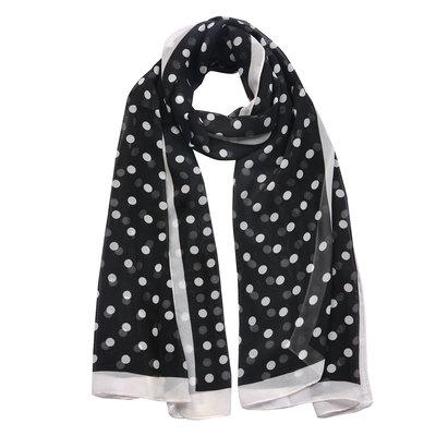 Sjaal zwart witte stippen