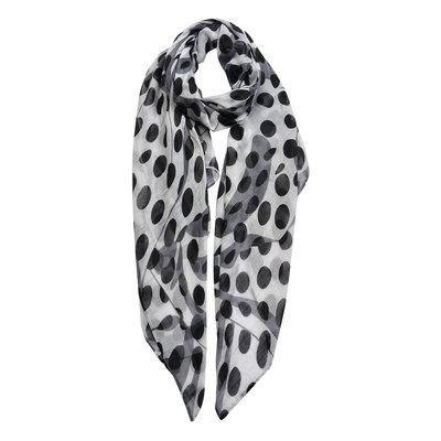 Sjaal wit stippen zwart