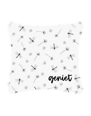 Buitenkussen met Geniet en patroon Zoedt
