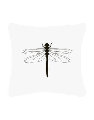 Buitenkussen wit met zwarte libelle Zoedt