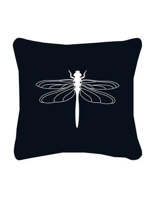 Buitenkussen zwart met witte libelle Zoedt