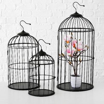 Vogelkooien set 3 zwart voor decoratie