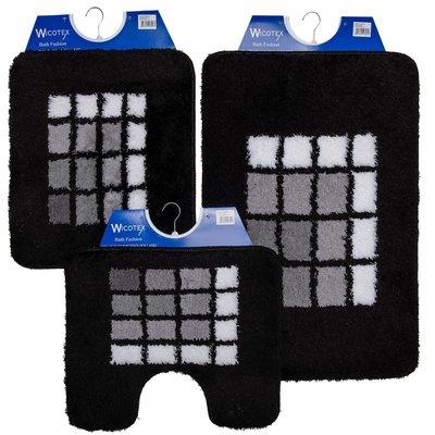 Badmat-Bidetmat-toiletmat Zwart wit grijs per stuk