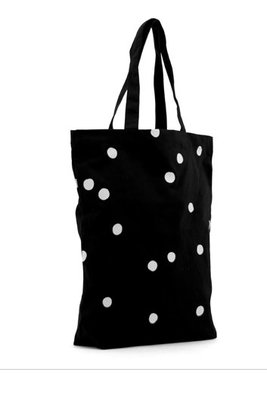 Cotton Bag Black + White Dots  40x10x45
