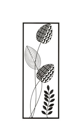 Wanddeco Plant Blad Metaal Zwart