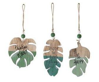 Hanging leaf wood/ met tekst
