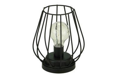 Metalen lamp 15x17 cm met led verlichting zwart