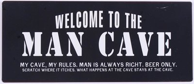 Tekstbord Welcome to the man cave  30 cm