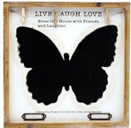 Krijtbord Vlinder met tekst