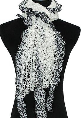 sjaal wit met motief