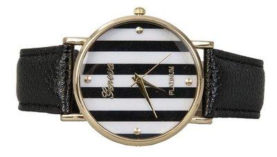 Horloge | Dames | Zwart Wit Streep