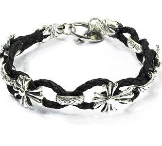 Armband | zwart | Bloemmotief