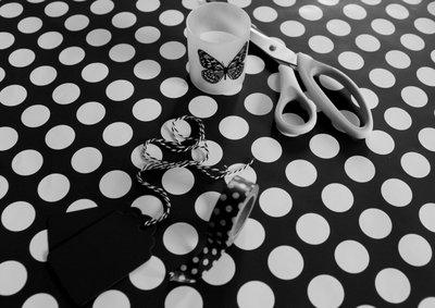 Inpakpapier |  Stip cadeaupapier zwart wit