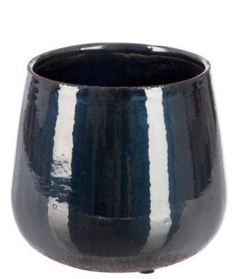Bloempot| metallic black  | aardewerk L
