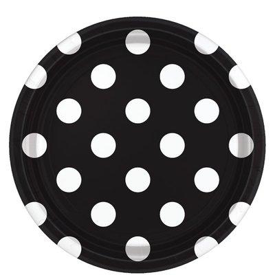 Bordjes karton | Zwart-Wit Stip 18 cm.| Set 8