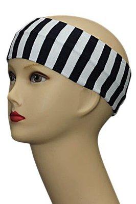 Haarband breed 7 cm. in zwart wit
