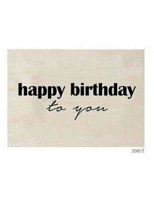 Houten kaart   Happy Birthday