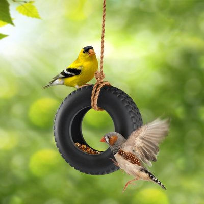 Vogelvoederhouder autoband hanger