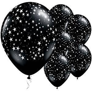 Ballonnen | Sterren | Zwart-Wit-25 stuks