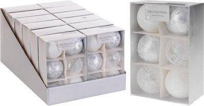 Kerstballen | Wit/zilver 6 stuks