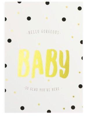 Kaart Hello Gorgeous Baby+enveloppe.