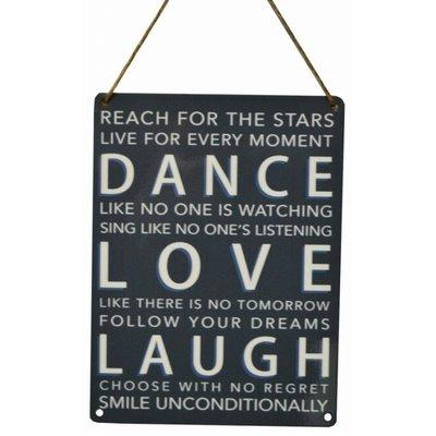 Tekstbord | metaal | Dance Laugh Love