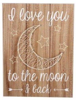 Tekstbord  I love you the the moon   Draad