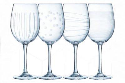Wijnglazen 4 stuks | stip/streep