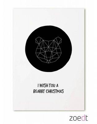 Kerstkaart | I wish you a bearry christmas