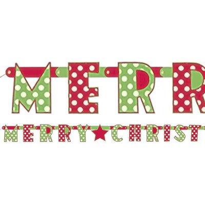 """Kerstversiering """"Merry  Christmas"""" Stip"""