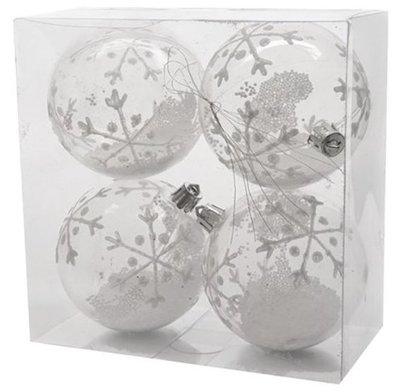 Kerstballen | Transparant Wit 4 stuks