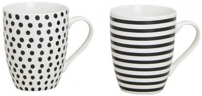 Mok Dots & Stripes design Zwart Wit