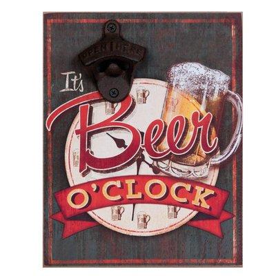 """Flesopener voor aan de muur """"Beer o'clock.."""""""