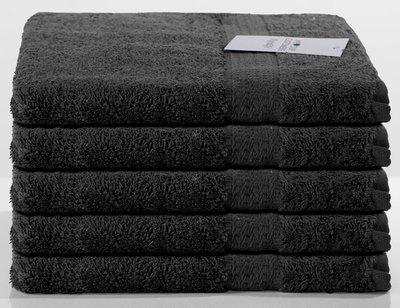 Handdoek/Badlaken Zwart 5-pack 100 x 50