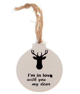 "Kerstbal Plat ""My Deer"" 2 stuks"