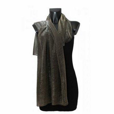 Sjaal | Zwart met gouddraad