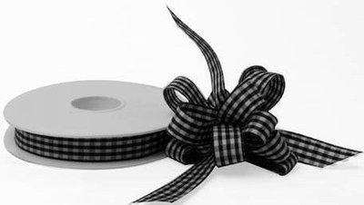 Cadeaulint zwart wit geruit 1 meter
