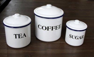 Voorraadbussen Koffie-Thee-Suiker Emaille