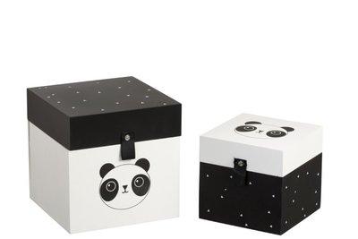Doosjes Panda Hout Wit/Zwart set 2