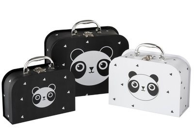 Koffers set 3 Panda Zwart/Wit  J-LINE