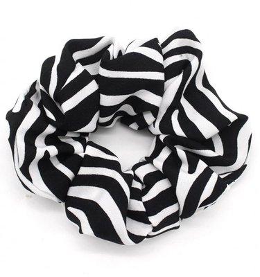 Haar elastiek Zwart Wit Strepen