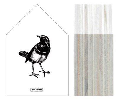 Huisje | Houtprint |Black Bird