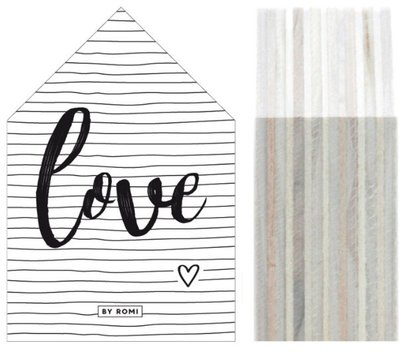 Huisje | Houtprint |Love Stripes