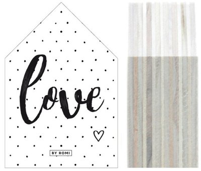 Huisje   Houtprint  Love Dots