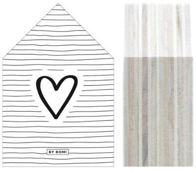 Huisje   Houtprint  Hart Stripes