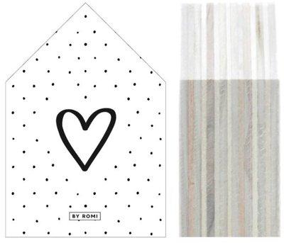 Huisje | Houtprint |Hart Dots