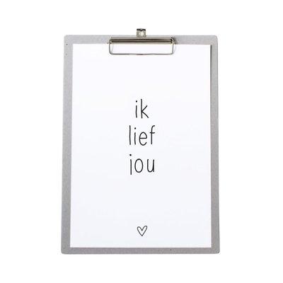 Poster 'Ik Lief Jou' op grijs klembord