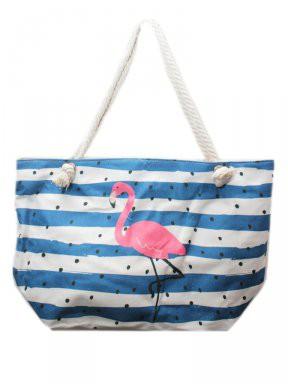 Strandtas Flamingo Blauw/Wit