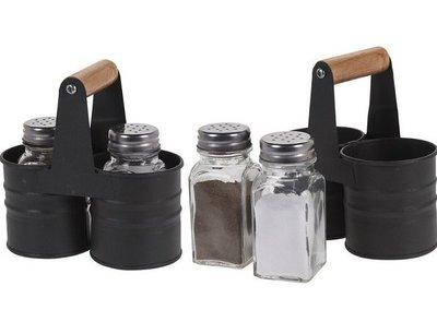 Peper & Zoutstel in houder metaal