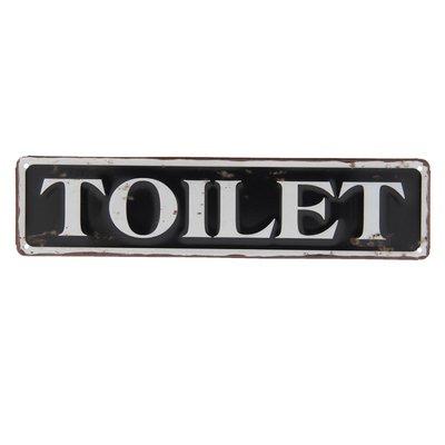 Tekstbordje | Toilet Metaal zwart wit